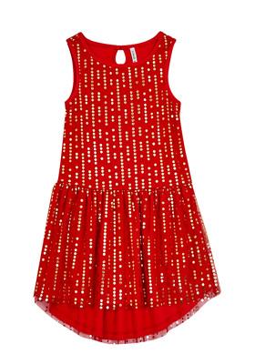 Dot Tulle Hi-Low Dress