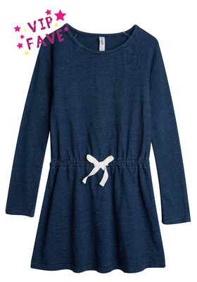 FabKids Dresses Indigo Knit Sweatshirt Dress Girls Purple Size S This comfy sweatshirt dress is perfect for everyday wear! The look and versatility of denim allows it to pair back perfectly to all her favorite leggings. Long sleeve knee-length dress with elastic waist.