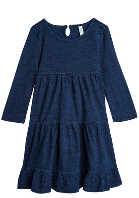 Indigo Knit Tiered Dress