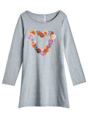 Floral Heart T-Shirt Dress