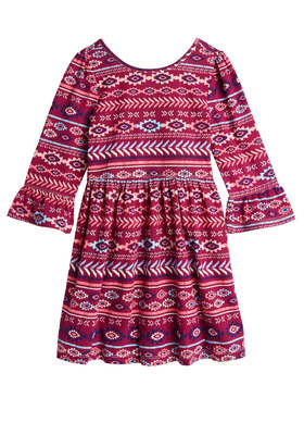 Tribal Bell Sleeve Dress