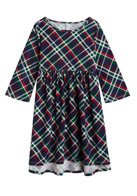Plaid Hi-Low Babydoll Dress