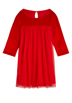 Velvet Tulle Babydoll Dress