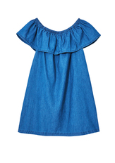Chambray Ruffle Dress