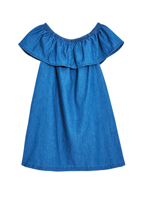 FabKids Dresses Chambray Ruffle Dress Girls Dark Medium Size M This dress is not only on trend but extremely versatile! Elastic neckline allows for it to be worn on or off the shoulders. Loose fit silhouette and lightweight fabric make it super comfortable.