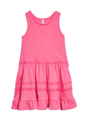 FabKids Dresses Textured Tank Dress Girls Pink Size XL She will love this adorable tank dress with textured detail on the skirt and a fun ruffle hem!