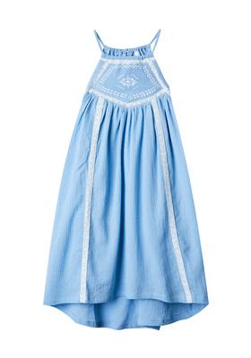 Lace Trim High Neck Dress