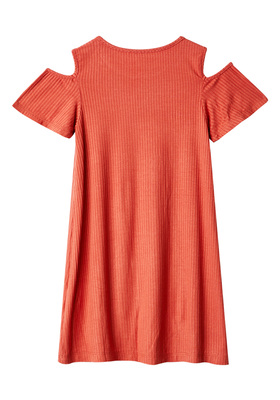 Cold Shoulder Rib-Knit Dress