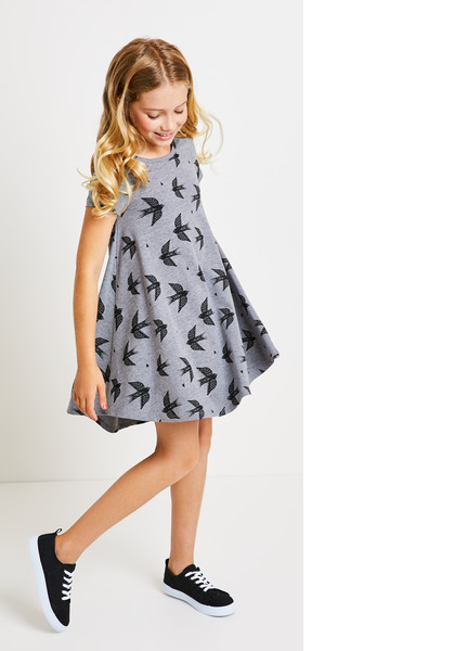 Hi-Low Bird Print Dress