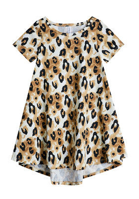 FabKids Dresses Hi-Low Leopard Print Dress Girls Leopard Size L She will love this t-shirt dress with a hi-low hem and exploded leopard print! In a super soft drapey fabric, it's the perfect all day go-to dress. Perfect for multiple occasions, from playwear to school.
