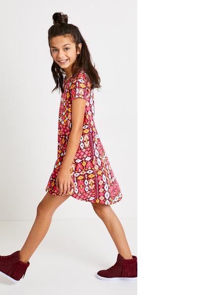 Hi-Low Geo Print Dress