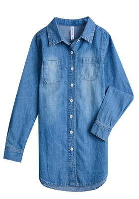 FabKids Dresses Hi-Low Chambray Shirt Dress Girls Medium Wash Size M A classic chambray shirt dress to wear on any occasion! Button cuffs allow her to roll sleeves up or down for easy dressing and playing. Featuring a pointed collar, button placket, two pockets on chest and hi-low hem.