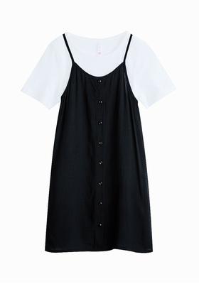 Button Front Slip Dress