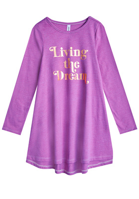 FabKids Dresses Living The Dream T-Shirt Dress Girls Purple Size XS She will love this t-shirt dress with a hi-low hem and gold foil graphic! In a super soft drapey fabric, it's the perfect all day go-to dress. Perfect for multiple occasions, from playwear to school.