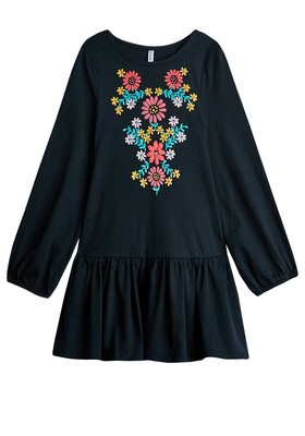 FabKids Dresses Floral Print Drop Waist Dress Girls Black Size M She will love this peasant sleeve dress with a beautiful boho floral print. Featuring a ruffle hem that is twirl ready! Perfect for multiple occasions, from playwear to school.