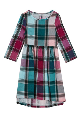 Plaid Hi-Low Baby Doll Dress