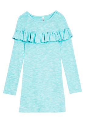 FabKids Dresses Softest Knit Ruffle Trim Dress Girls Blue Size XS She will love this ruffle trim dress with an A-line silhouette. In a super soft drapey fabric, it's the perfect all day go-to dress. Perfect for multiple occasions, from playwear to school.