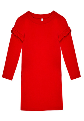 FabKids Dresses Ruffle Sweatshirt Dress Girls Red Size XXS This sweatshirt dress is comfy and chic! Featuring ruffle trim on arms, front pockets and super soft fleece fabric. Perfect for multiple occasions, from playwear to school.