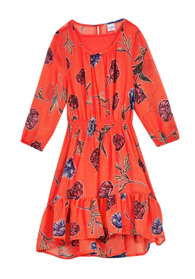 Floral Hi-Low Ruffle Dress