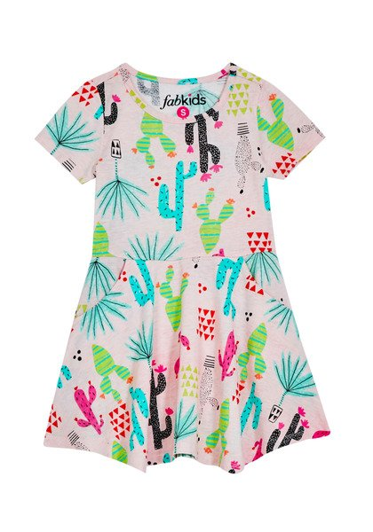 FabKids Dresses Cactus Handkerchief Hem Dress Girls Pink Size L She will love this all over printed dress with a fit & flare silhouette! Featuring a handkerchief hem, front side pockets, and soft stretchy fabric. Perfect for multiple occasions, from playwear to school.
