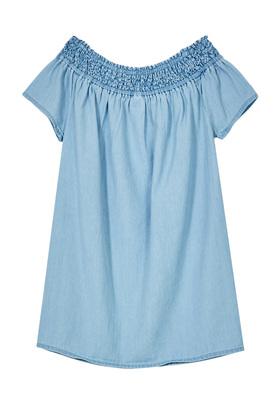 Chambray Smocked Neck Dress