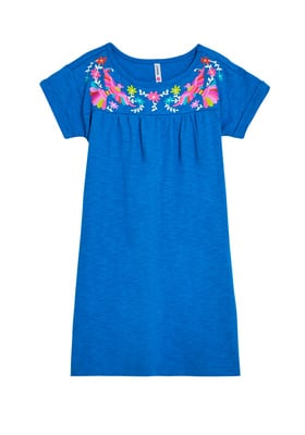 FabKids Dresses Embroidered Print Dress Girls Blue Size M Complete her sunny day look with this breezy dress! Featuring a colorful embroidery print along the neckline. Perfect for multiple occasions, from playwear to school.