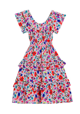 FabKids Dresses Floral Ruffle Maxi Dress Girls Floral Size XXS She will love this twirl worthy maxi dress with a beautiful boho floral print. Featuring a tiered ruffle silhouette and sleeves that can be worn on or off the shoulder.
