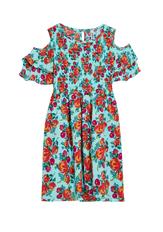 Smocked Cold Shoulder Floral Dress