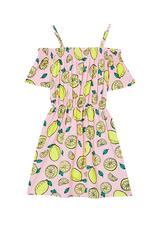 Cold Shoulder Lemon Print Dress