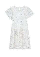 Foil Dot Overlay Dress