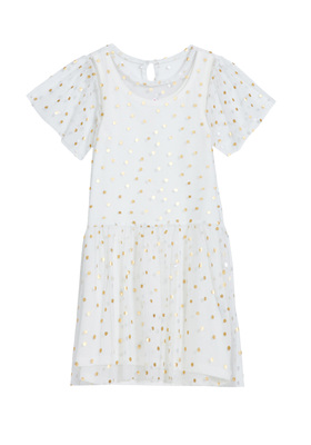 FabKids Dresses Foil Dot Overlay Dress Girls White Size M Short sleeve drop-waist tulle dress with a gold foil dot overlay and hi-low hem. Fully lined with slight stretch for ease and comfort. Perfect for multiple occasions, from playwear to school.
