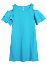 Cold Shoulder Ruffle Sleeve Dress
