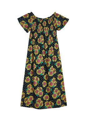 Sunflower Print Smocked Midi Dress