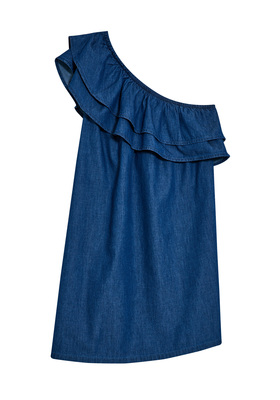 FabKids Dresses One Shoulder Chambray Dress Girls Medium Wash Size M This chambray dress takes a classic everyday item and dresses it up! With a one shoulder, double ruffle detail, it's the perfect piece for the dressed up spring and summer occasions.