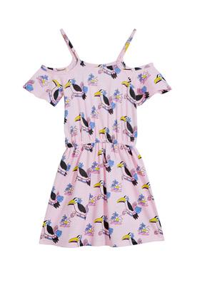 Toucan Print Open Shoulder Dress