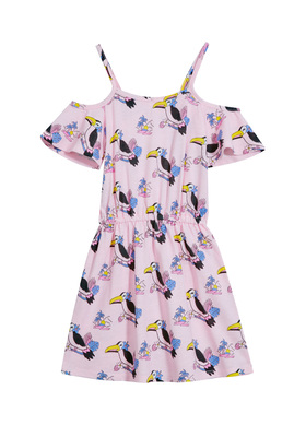 Toucan Print Open Shoulder Dress