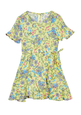 Floral Wrap Ruffle Dress