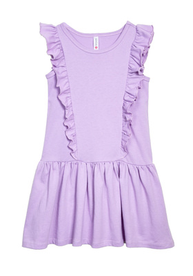 FabKids Dresses Ruffle Sleeve Dress Girls Purple Size XL This tank dress is easy to throw on by itself or with a fun pair of leggings! Featuring a drop waist and ruffle detail on the front and the back.
