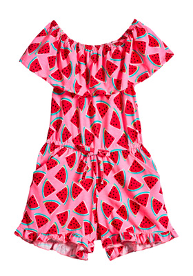 FabKids Dresses Watermelon Off The Shoulder Ruffle Romper Girls Pink Size XXL This off-the-shoulder ruffle romper will be sure to be a hit! Can be worn either off or on the shoulder with an elastic waist and a faux drawcord.