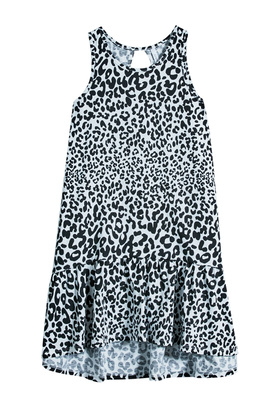 FabKids Dresses Cheetah Hi-Low Tank Dress Girls Animal Size M She will look adorable in this graphic tank dress! Featuring a cutout back, hi-low silhouette, and ruffle hem.