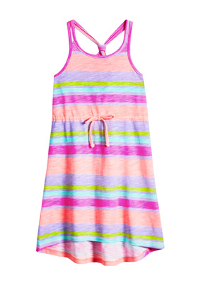 FabKids Dresses Striped Knot Back Dress Girls Pink Size XXS This bright tank dress is perfect for the long summer days ahead! Featuring a knot back design, elastic waist, and faux drawcord.
