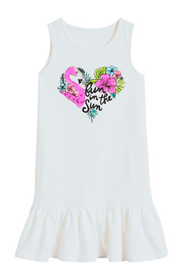 FabKids Dresses Fun In The Sun Flamingo Tank Dress Girls White Size XXS She will look adorable in this graphic tank dress! Featuring a ruffle hem and a colorful flamingo graphic. Perfect for multiple occasions, from playwear to school.