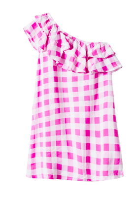 FabKids Dresses One Shoulder Ruffle Checkered Dress Girls Pink Size XXL This fun one shoulder dress will be easy for her to throw on for any summer occasion! Featuring double ruffle detail and fun checkered print.
