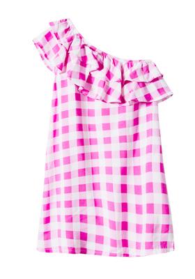 One Shoulder Ruffle Checkered Dress