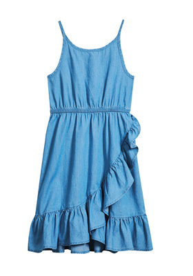 FabKids Dresses Ruffle Tank Chambray Dress Girls Chambray Size L Make this chambray dress her new wardrobe staple. Lightweight fabric is perfect for warm days and pairs well with any jacket. Features an elastic waistband and asymmetrical ruffles that move with her for a beautiful silhouette. Adjustable straps.