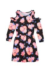 Cold Shoulder Rose Print Dress