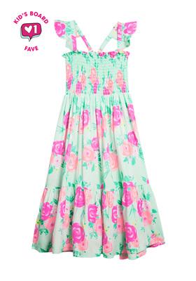 Rose Ruffle Maxi Dress