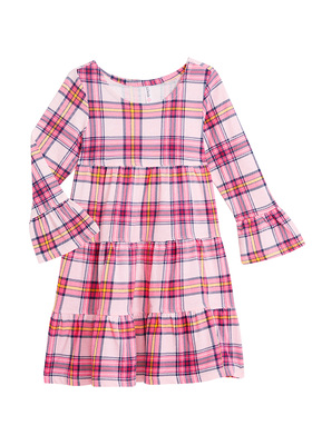 Bell Sleeve Plaid Dress