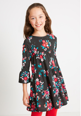 Tiered Holiday Floral Dress