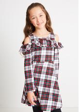 Plaid Cold Shoulder Dress